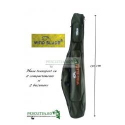 Husa transport  Lansete/Vergi cu 2 compartimente + 2 buzunare, Lungime 130 cm