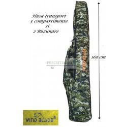 Husa transport  Lansete/Vergi cu 3 compartimente + 2 buzunare, Lungime 165 cm