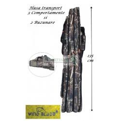 Husa Premium transport  Lansete/Vergi cu 3 compartimente + 2 buzunare, Lungime 135 cm