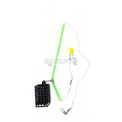 Montura Feeder cu cosulet , tub antitangle, carlig 12, boabe de silicon si agrafa de prindere rapida