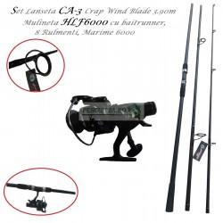Set Lanseta CA-3 Crap Wind Blade 3.90m si Mulineta HLF6000 cu baitrunner, 8Rulmenti, Marime 6000