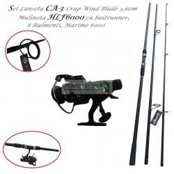 Set Lanseta CA-3 Crap Wind Blade 3.60m si Mulineta HLF6000 cu baitrunner, 8Rulmenti, Marime 6000
